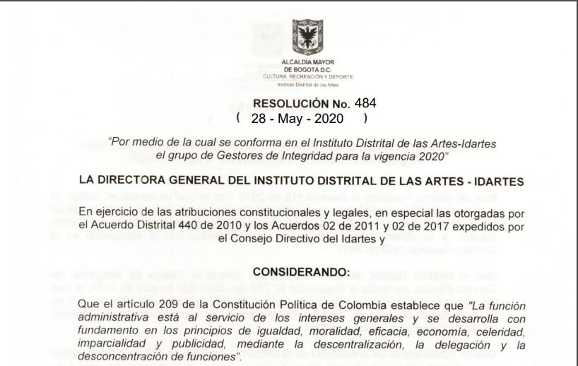 Consulta aquí la resolución de conformación de los Gestores de Ética del Idartes